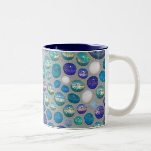 Mosaico de cristal azul del guijarro tazas de café