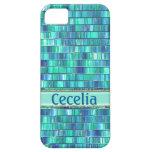 Mosaico de cristal azulverde de lujo iPhone 5 coberturas