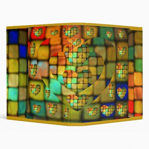 Mosaico de cristal coloreado del corazón de la tej