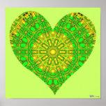Mosaico de cristal del efecto verde/amarillo (cora impresiones
