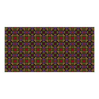 Mosaico de cristal multicolor tarjeta fotográfica