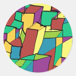 Mosaico de cuadrados pegatina redonda