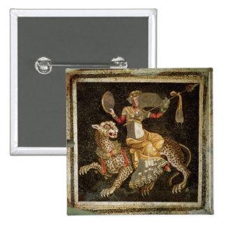 Mosaico de Dionysus que monta un ANUNCIO del leopa Pin Cuadrado