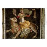Mosaico de Dionysus que monta un ANUNCIO del leopa Tarjeta De Felicitación