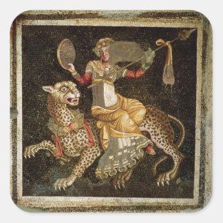 Mosaico de Dionysus que monta un ANUNCIO del Pegatina Cuadrada