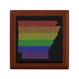 Mosaico de la bandera del orgullo del arco iris de joyero cuadrado pequeño