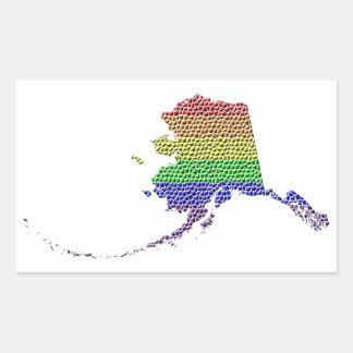 Mosaico de la bandera del orgullo del arco iris de pegatina rectangular