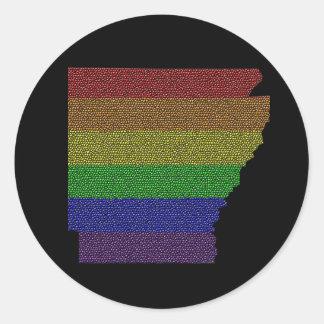 Mosaico de la bandera del orgullo del arco iris de pegatina redonda