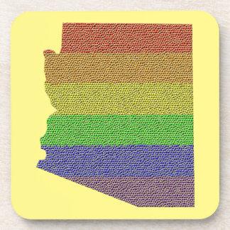Mosaico de la bandera del orgullo del arco iris de posavasos de bebida