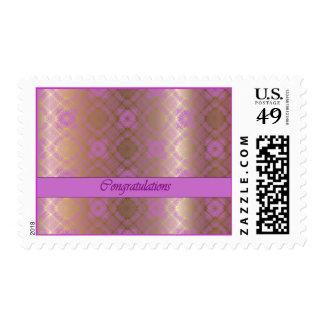 Mosaico de la enhorabuena en la orquídea radiante timbre postal
