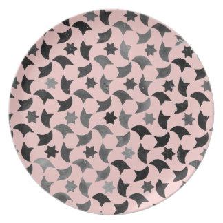 Mosaico de la estrella del cuarzo color de rosa platos