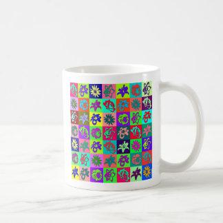 Mosaico de la flor tazas de café