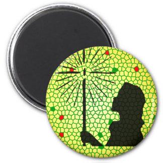 mosaico de la luz de navidad imán redondo 5 cm