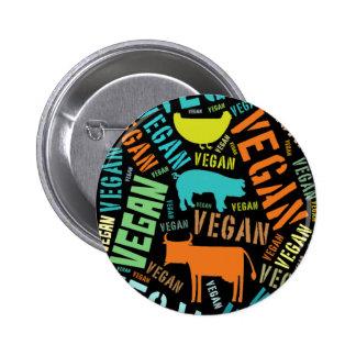 """Mosaico de la Palabra-Nube del """"vegano"""" con el Pin Redondo De 2 Pulgadas"""