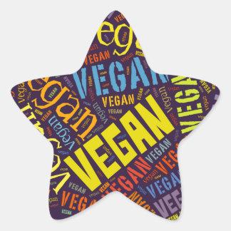 """Mosaico de la Palabra-Nube del """"vegano"""" Pegatina En Forma De Estrella"""
