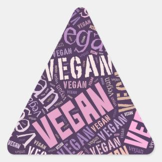 "Mosaico de la Palabra-Nube del ""vegano"" Pegatina Triangular"