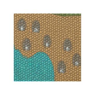 Mosaico de la pintura impresiones en madera