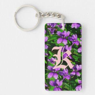 Mosaico de la violeta de madera de la flor de llavero