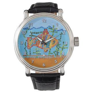 Mosaico de los pescados del oro relojes de mano