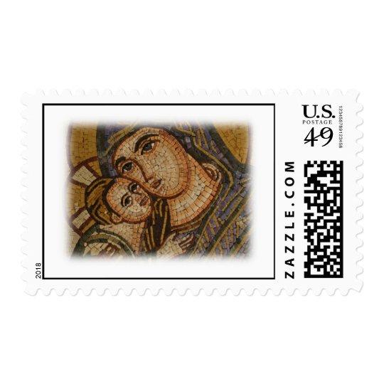 Mosaico de Maria y del bebé Jesús Sellos