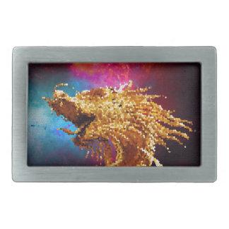 Mosaico de oro de la galaxia del dragón del vitral hebilla de cinturon