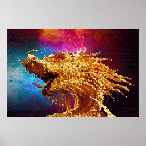 Mosaico de oro de la galaxia del dragón del vitral posters
