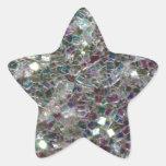 Mosaico de plata colorido brillante colcomanias forma de estrella