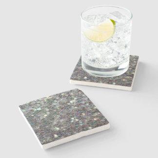 Mosaico de plata colorido brillante posavasos de piedra