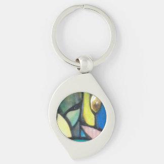 Mosaico de Tiffany Llavero Plateado En Forma De Espiral