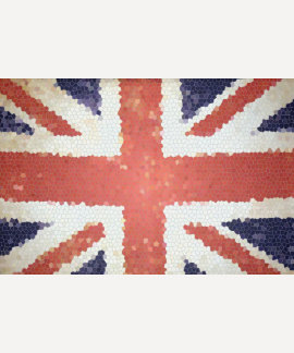 Mosaico de Union Jack Reino Unido de la bandera Polera