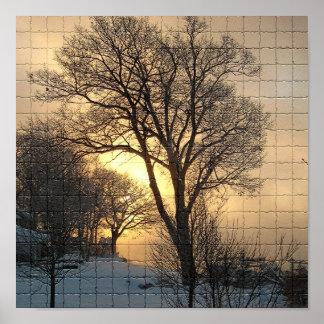 Mosaico del árbol del invierno del lago Lemán Poster