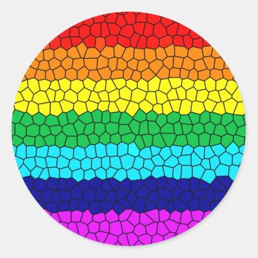 Mosaico del arco iris pegatina redonda