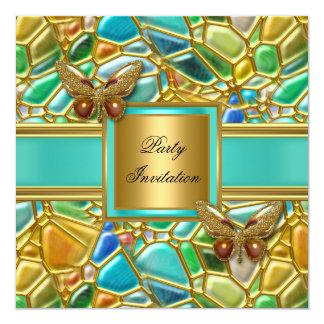 Mosaico del azul de la aguamarina del oro de la invitación 13,3 cm x 13,3cm