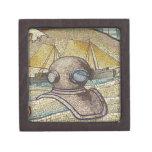Mosaico del casco viejo de los buceadores caja de recuerdo de calidad