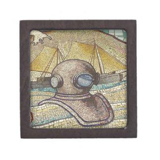 Mosaico del casco viejo de los buceadores cajas de recuerdo de calidad