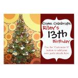 Mosaico del círculo del árbol de navidad buenas invitación 12,7 x 17,8 cm