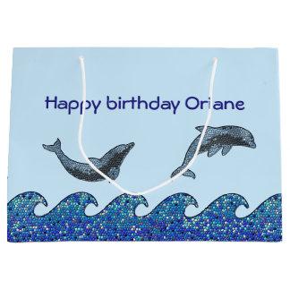 mosaico del delfín bolsa de regalo grande
