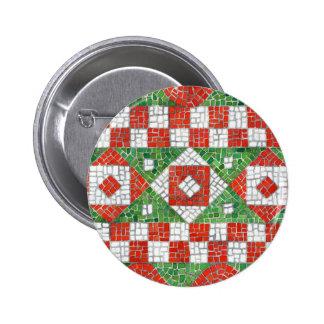 Mosaico del día de fiesta pin redondo de 2 pulgadas