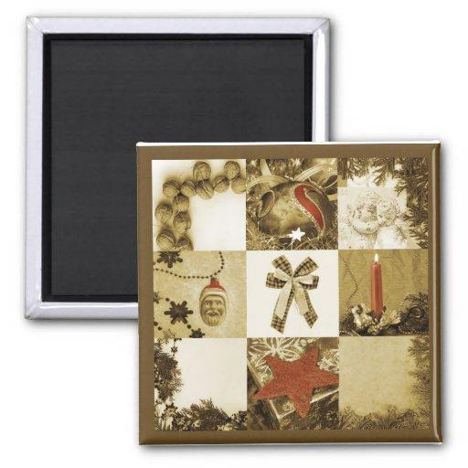 Mosaico del navidad imán de nevera