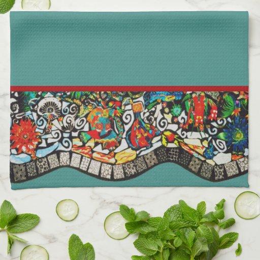 Mosaico del país de las maravillas toallas de cocina
