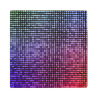 Mosaico del pixel de la fiebre del disco posavasos de madera