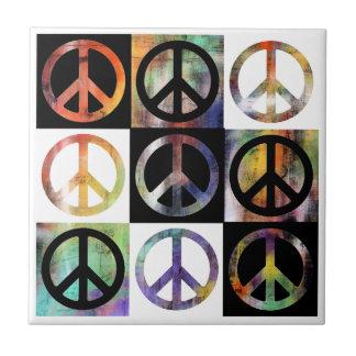 Mosaico del signo de la paz azulejo cuadrado pequeño