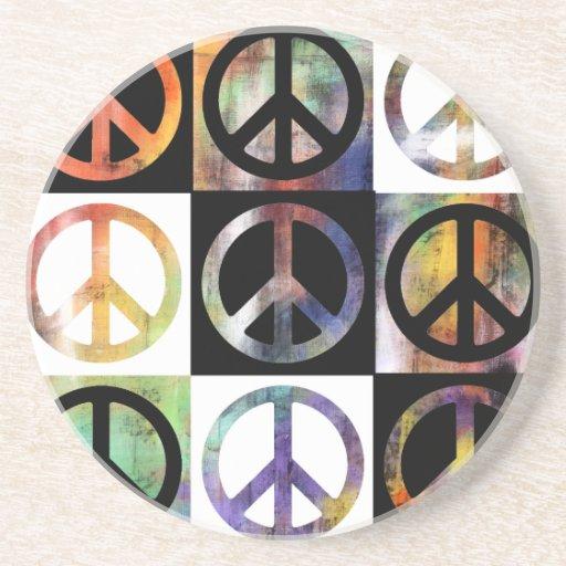 Mosaico del signo de la paz posavasos personalizados
