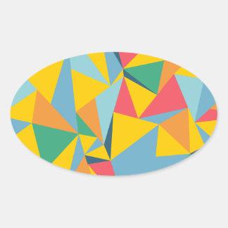 Mosaico del triángulo pegatina ovalada