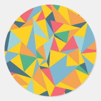 Mosaico del triángulo pegatina redonda