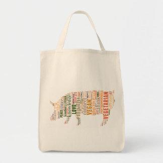 Mosaico del vegano bolsa tela para la compra
