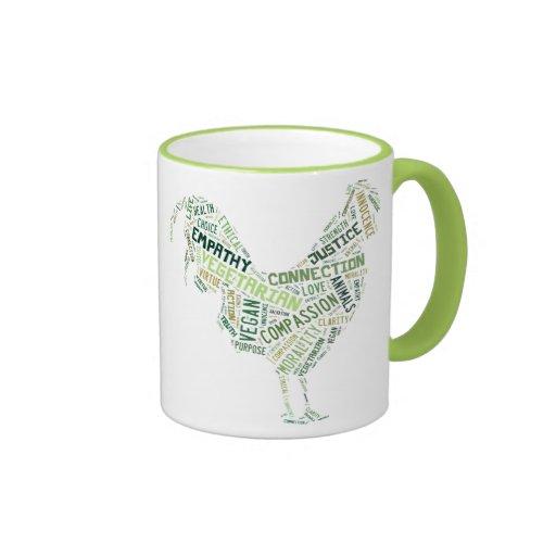 Mosaico del vegano tazas de café