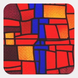 Mosaico del vitral pegatina cuadrada