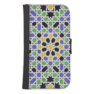 Mosaico en los dado de la puerta en el pasillo de fundas billetera para teléfono