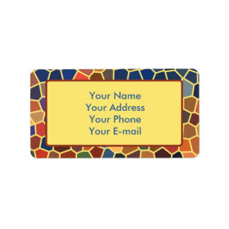 Mosaico enrrollado abstracto amarillo-naranja azul etiquetas de dirección